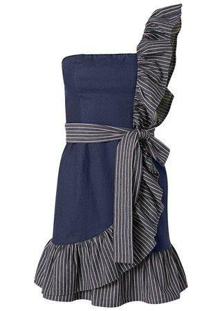 Ruffle Detail Denim Dress in Dark Wash   VENUS