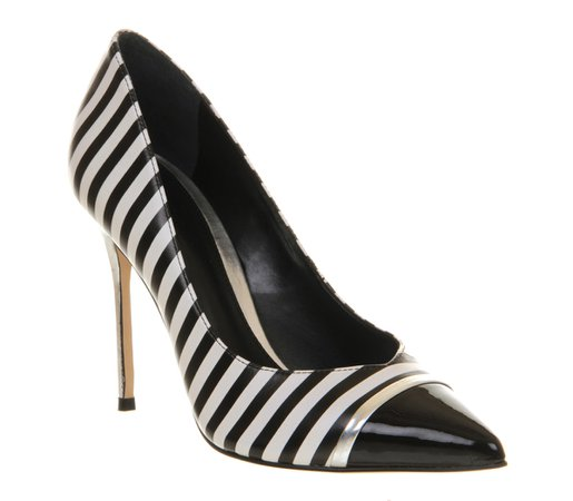 Office Jester Black White Stripe Leather - High Heels