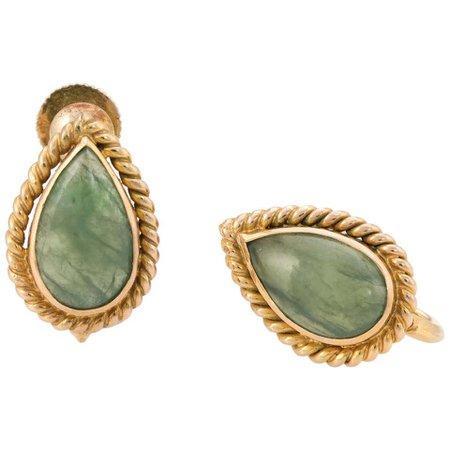 Pear Cut Jade Earrings 14 Karat Yellow Gold Fine Jewelry Screw Back For Sale at 1stDibs