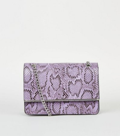 Lilac Faux Snake Chain Shoulder Bag | New Look