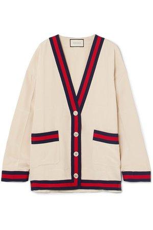 Gucci | Oversized grosgrain-trimmed silk crepe de chine cardigan | NET-A-PORTER.COM