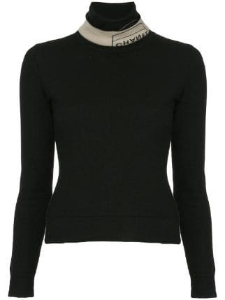 Chanel Pre-Owned Branded Turtle Neck Jumper - Farfetch