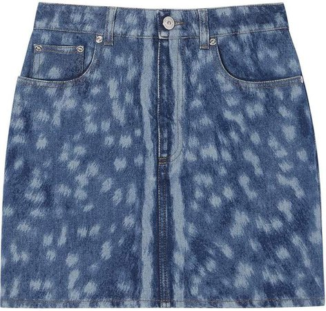 deer print denim mini skirt