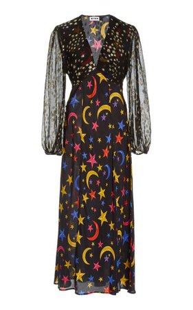 Melanie Star-Print Silk Midi Dress By Rixo | Moda Operandi