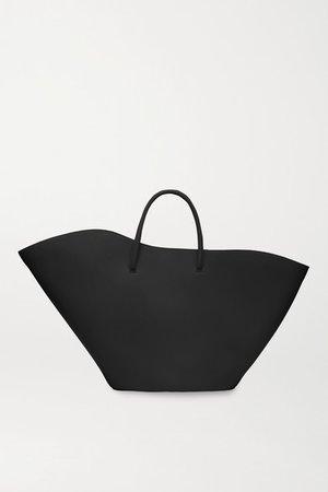 Open Tulip Medium Leather Tote - Black