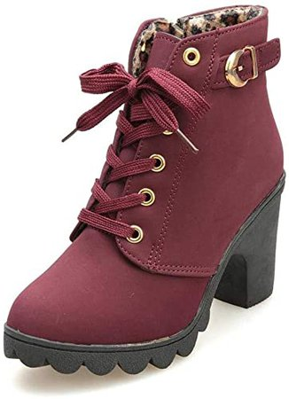 Amazon.com   SNIDEL Ankle Boots for Women Chunky high Heels Work Winter Motorcycle Cowboy Martin Boots Fall Combat lace up Booties Platform Dress shoesWine Red 9 B (M) US   Ankle & Bootie