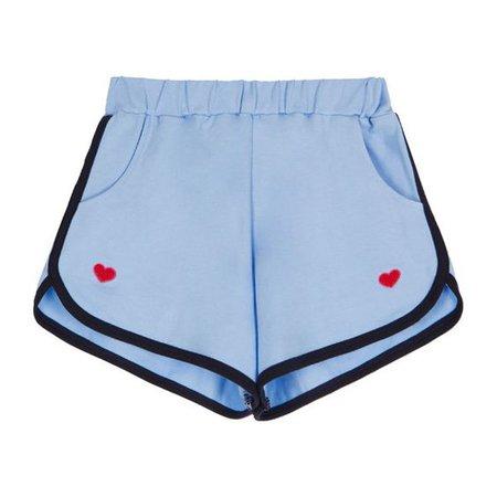 Sky Blue HEART CLUBHeart Embroidered Elastic Waist Shorts