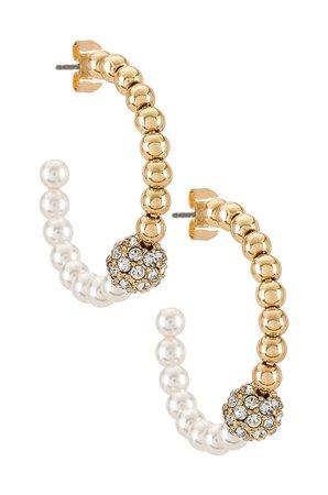 Ettika Pearl Hoop Earring in Gold | REVOLVE