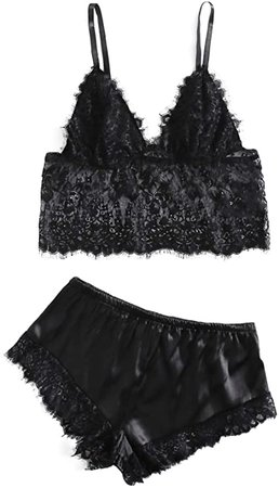 *clipped by @luci-her* WDIRARA Women's Floral Lace Cami Top with Shorts Sleepwear Sexy Lingerie Pajama Set at Amazon Women's Clothing store