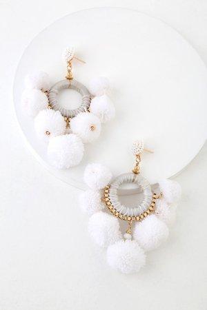 White Statement Earrings - Hoop Earrings - Pom Pom Earrings