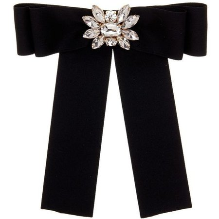 Cara Accessories Bow Pin with Floral Embellishment