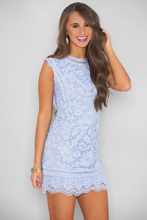 Waiting All My Life For You Lace Dress Light Blue - The Pink Lily