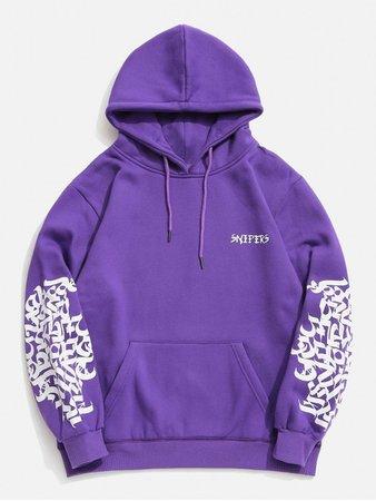 [47% OFF] 2019 Hiphop Graphic Fleece Hoodie In PURPLE S   ZAFUL