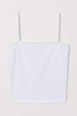 Cropped Jersey Camisole Top - White