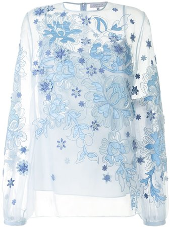 Andrew Gn Floral Sheer long-sleeve Blouse - Farfetch
