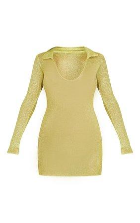 Lime Collar Detail Plunge Split Hem Bodycon Dress   PrettyLittleThing USA