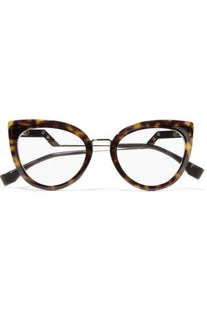 Fendi   Cat-eye tortoiseshell acetate and gold-tone optical glasses   NET-A-PORTER.COM