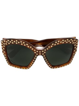 Gucci Eyewear brown star studded sunglasses SS19 - Fast AU Delivery