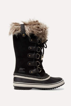 Joan Of Arctic Faux Fur-trimmed Waterproof Suede And Rubber Boots - Black