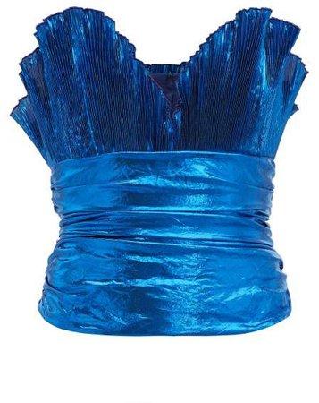 The Metallic Plisse Crepe Bustier Top - Womens - Blue