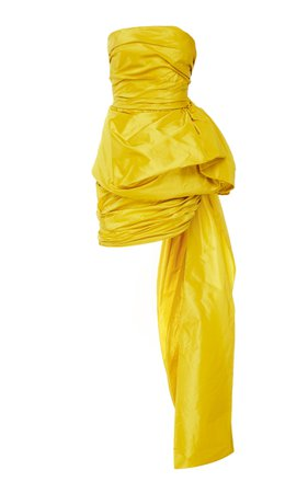 large_oscar-de-la-renta-yellow-strapless-ruched-silk-mini-dress-with-train.jpg (1598×2560)