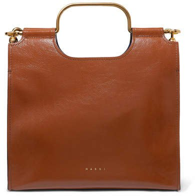 Marcel Textured Glossed-leather Tote - Brown