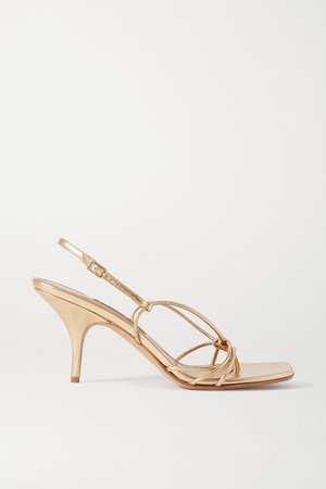 Adele Metallic Leather Sandals - Gold