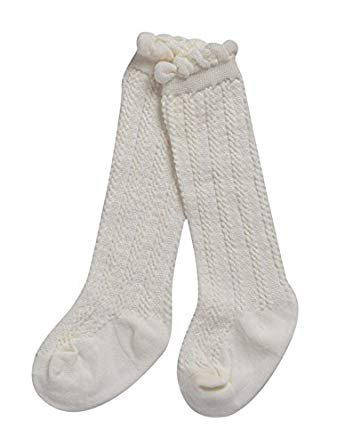 Amazon.com: Alva Edison Cable-Knit Knee High Cotton Socks For Baby Girls, Toddlers&Child 1-3T, White: Clothing