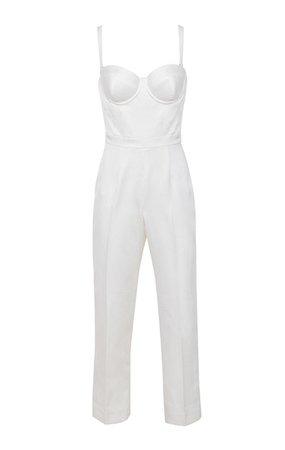 Clothing : Jumpsuits : 'Kaela' Ivory Satin Corset Jumpsuit