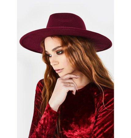 Flat Wide Brim Ribbon Hat -Red | Dolls Kill
