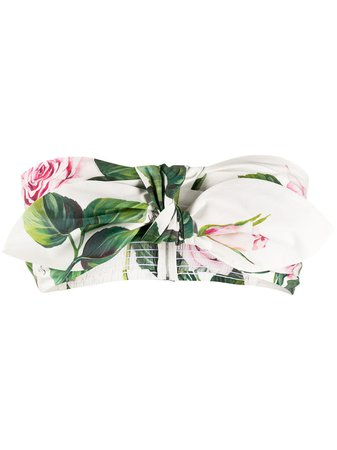 Dolce & Gabbana Tropical Rose Print Bandeau Top - Farfetch