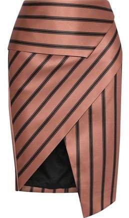 Wrap-effect Striped Satin Skirt