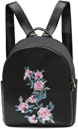Silkarea Cute Mini Backpack for Women,Embroidered Rose Backpack,Black Nylon Waterproof Small Travel Backpack Purse for Girls: Home & Kitchen