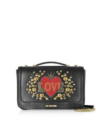 Love Moschino Black Eco-leather Shoulder Bag W/ Heart Crystals