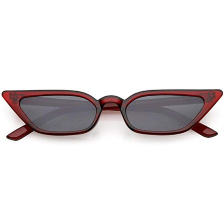 Amazon.com: sunglassLA - 90s Small Vintage Cat Eye Sunglasses for Women with Translucent Thin Rectangle Frames (Red/Red): Clothing