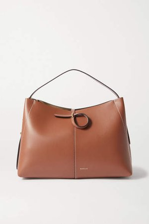 Ava Medium Leather Shoulder Bag - Tan