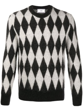 AMI Paris crew-neck diamond-pattern jumper