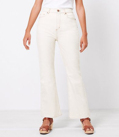 The Curvy High Waist Sandal Flare Jean in Natural White