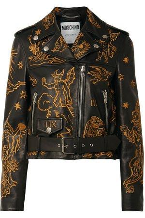 Moschino | Embroidered leather biker jacket | NET-A-PORTER.COM