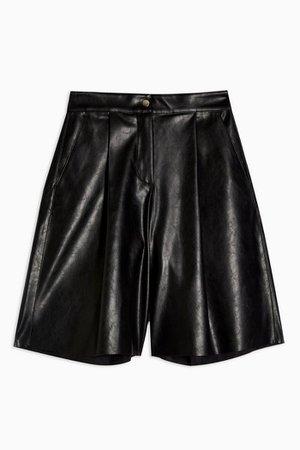 Black PU Culottes   Topshop