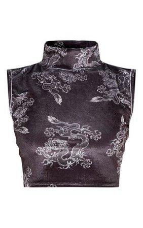 Black Oriental Printed Velvet High Neck Crop Top