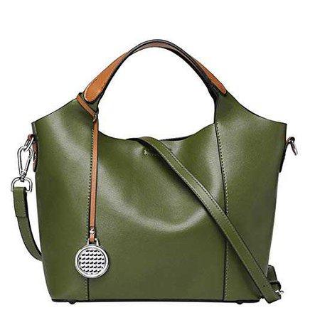 Oangel Women's Handbag Genuine Leather Shoulder Tote Bag Purse (Army Green): Handbags: Amazon.com