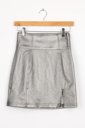 Free People Holding Onto A Dream Silver - Silver Mini Skirt - Lulus