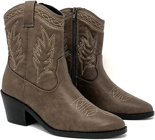 Amazon.com | Soda Picotee Women Western Cowboy Cowgirl Stitched Ankle Boots | Mid-Calf