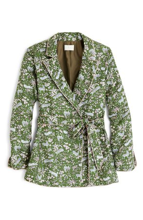 J.Crew Jungle Cat Silk Twill Wrap Blazer | Nordstrom