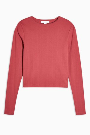 Red Long Sleeve Pointelle T-Shirt | Topshop red