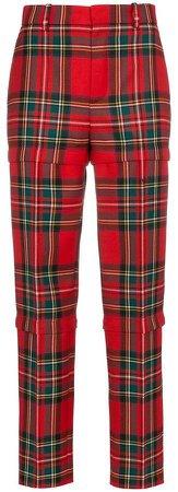Red wool tartan trousers
