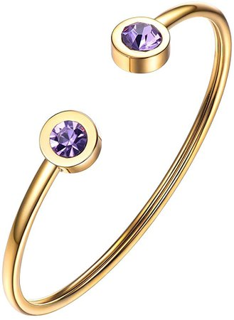 Amazon.com: PROSTEEL February Birthstone Amethyst Cuff Bracelet 18K Gold Plated Stainless Steel Purple Crystal Bangle Girl Women Jewelry Birthday Gift: Jewelry
