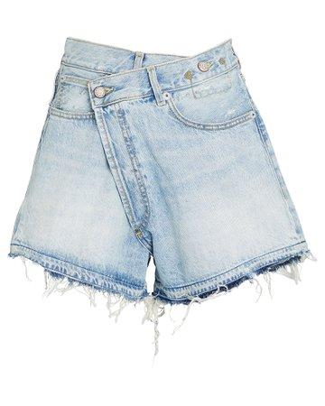 R13 Crossover Distressed Denim Shorts   INTERMIX®