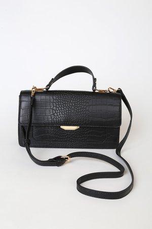 Cute Black Purse - Black Crossbody Purse - Black Crocodile Purse - Lulus